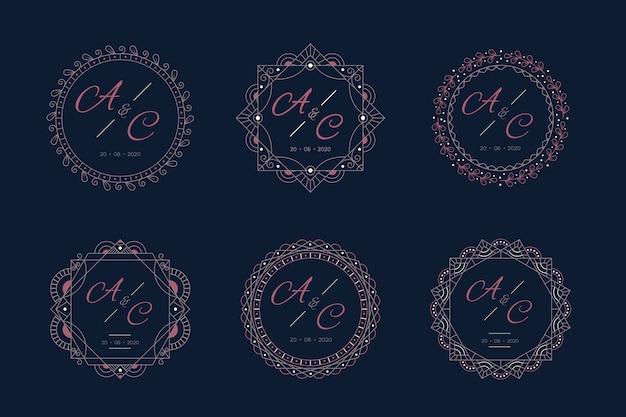 Luksusowe Monogramy ślubne Z Ramą Darmowych Wektorów