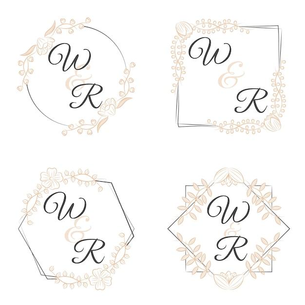 Luksusowe Monogramy Z Kwiatami Na Wesela Darmowych Wektorów