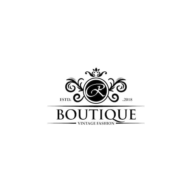 Luksusowe szablony logo boutique Premium Wektorów