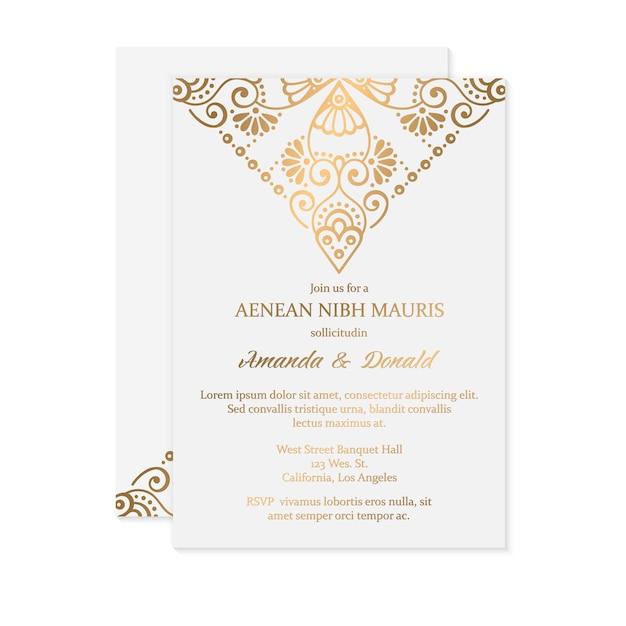 Luksusowe zaproszenie na ślub Darmowych Wektorów