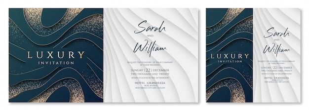 Luksusowe zaproszenie na ślub Premium Wektorów