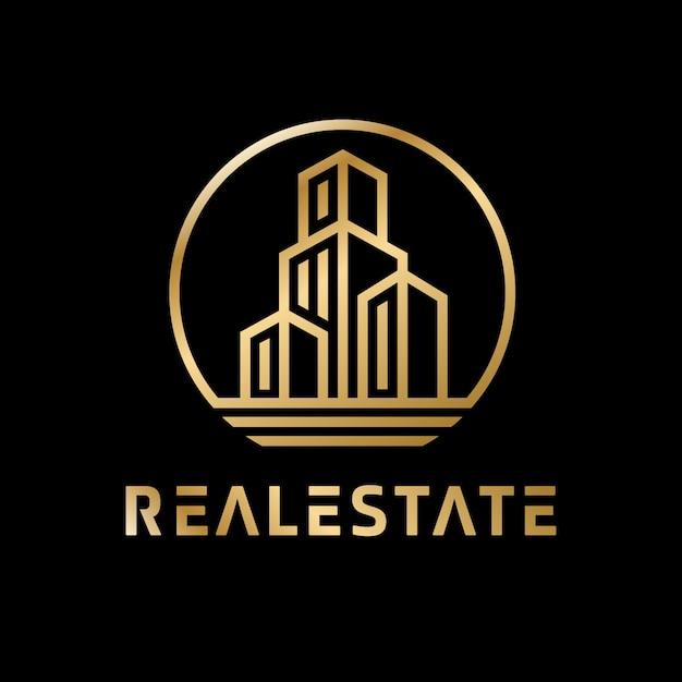 Luksusowe złote logo nieruchomości Premium Wektorów