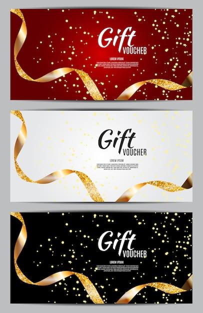 Luksusowi Członkowie, Szablon Karty Podarunkowej Na świąteczną Kartę Podarunkową, Kupon I Certyfikat Ze Wstążkami I Pudełko Upominkowe Dla Twojej Firmy Premium Wektorów