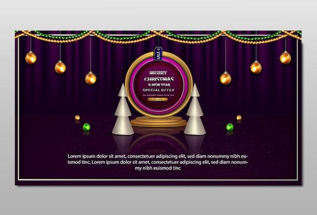 Luksusowy Baner Sprzedaży Wesołych świąt I Nowego Roku Premium Wektorów