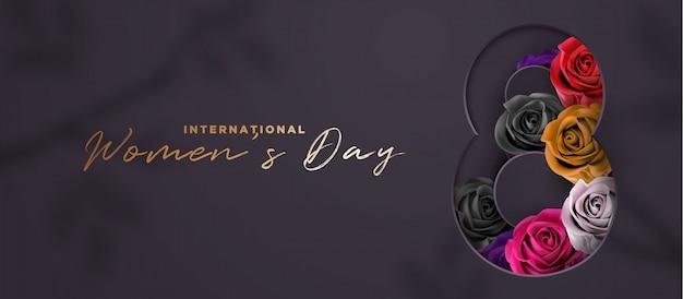Luksusowy Czarno-złoty Dzień Kobiet Banner 3d Premium Wektorów