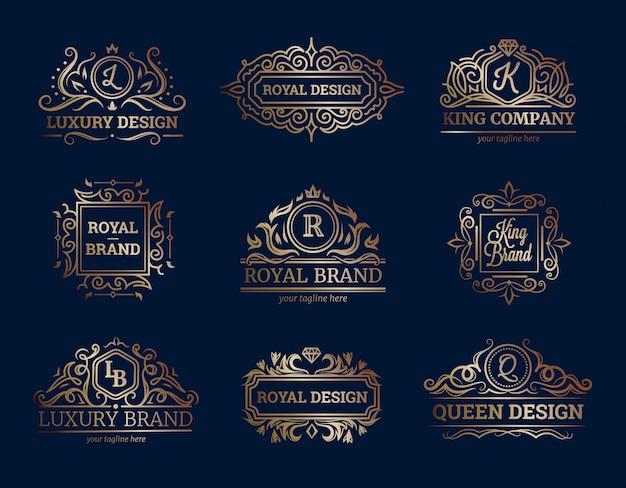 Luksusowy etykietka projekt ustawia z premii ilości symboli / lów mieszkania odosobnioną wektorową ilustracją Darmowych Wektorów