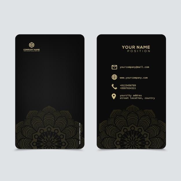 Luksusowy I Elegancki Czarny Złoty Wizytówki Szablon Premium Wektorów
