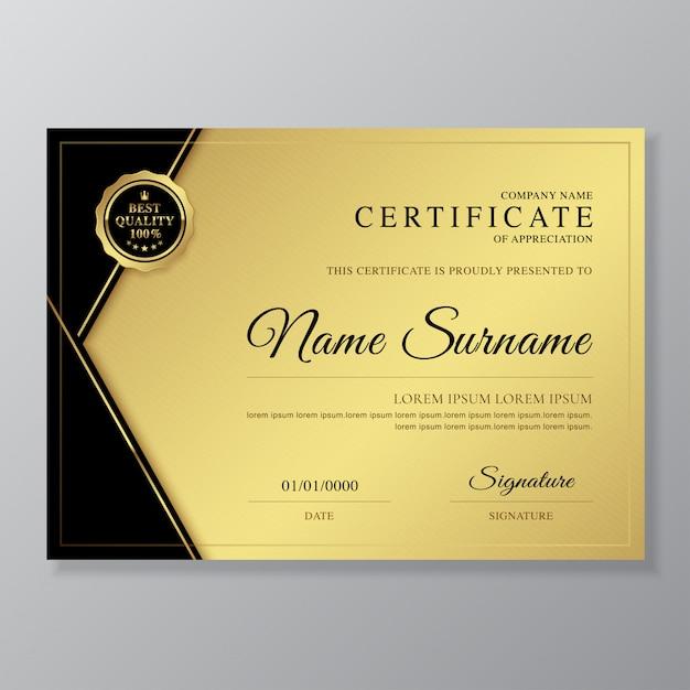 Luksusowy i nowoczesny certyfikat i dyplom uznania szablonu projektu Premium Wektorów