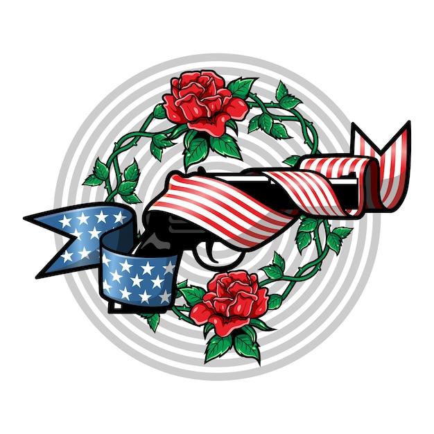 Luksusowy I Vintage Ilustracji Pistolet Z Logo Czerwonych Róż Amerykańskiej Flagi Premium Wektorów