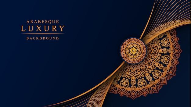 Luksusowy Mandali Tło Z Złotą Arabeskową Dekoracją Premium Wektorów