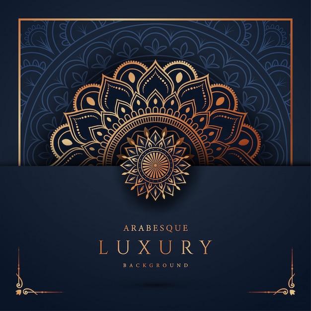 Luksusowy Mandali Tło Z Złotym Arabeska Wzorem Arabskim Islamskim Wschodu Stylem Premium Wektorów