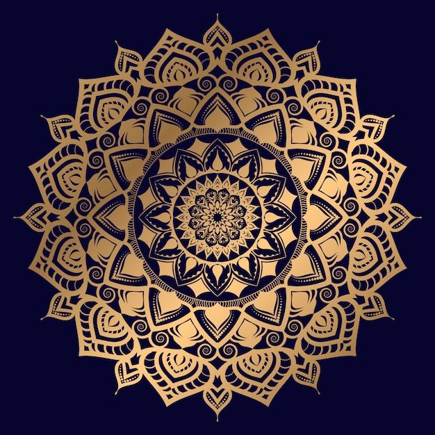 Luksusowy mandali tło z złotym arabesku wzorem arabskim islamskim wschodu stylem Premium Wektorów