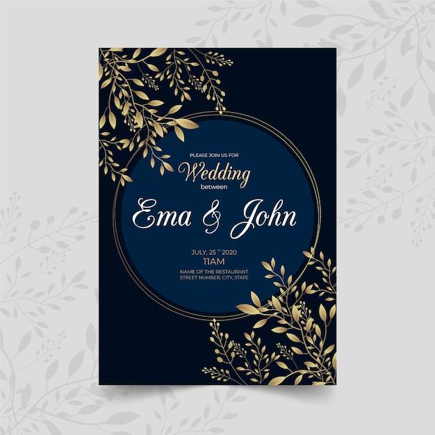 Luksusowy Motyw Szablonu Zaproszenia ślubne Darmowych Wektorów
