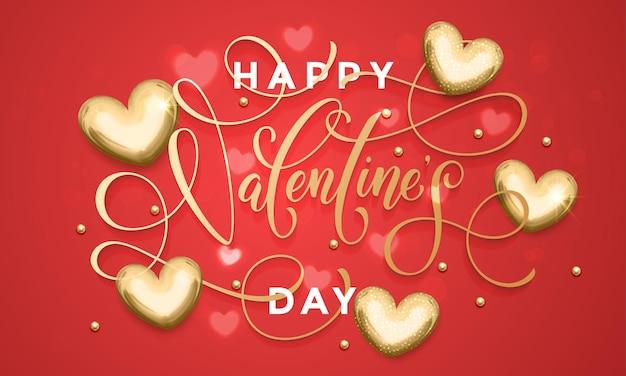 Luksusowy Napis Tekstowy Walentynki Na Wzór Złote Serca Dla Premium Czerwona Kartka Z życzeniami Premium Wektorów