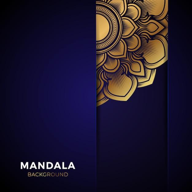Luksusowy niebieski złoty mandali tło Premium Wektorów
