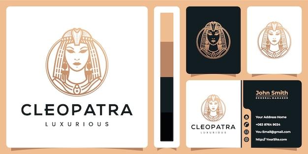 Luksusowy Projekt Logo Kleopatry Z Szablonem Wizytówki Premium Wektorów