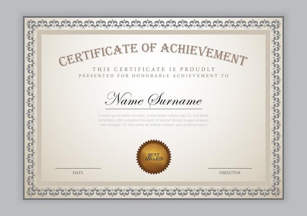Luksusowy projekt szablonu certyfikatu z elementem tekstowym, dyplom Premium Wektorów