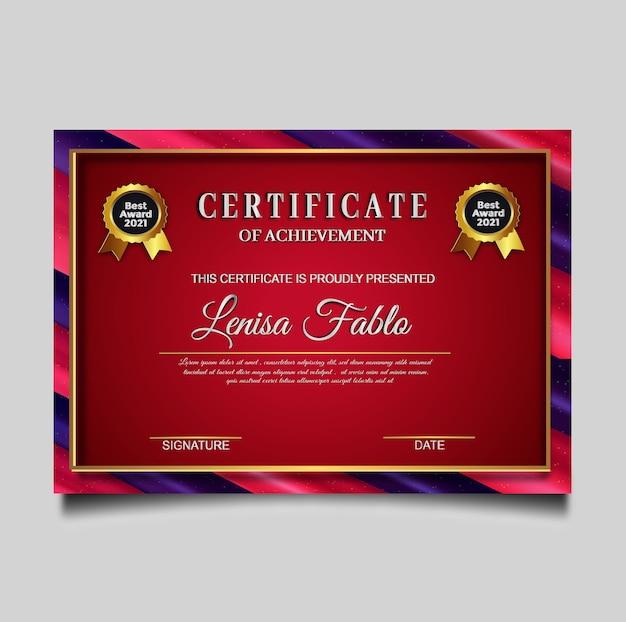 Luksusowy Projekt Szablonu Certyfikatu Premium Wektorów