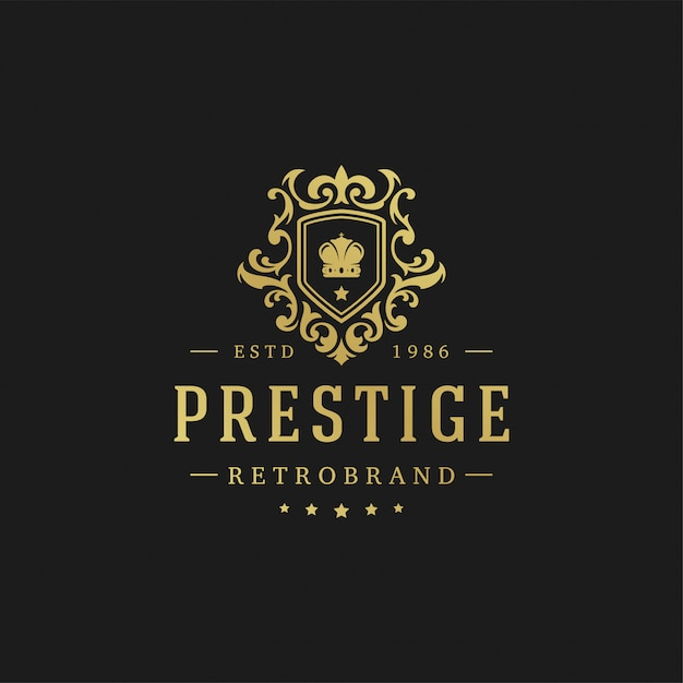 Luksusowy projekt szablonu logo ilustracji wektorowych. Premium Wektorów