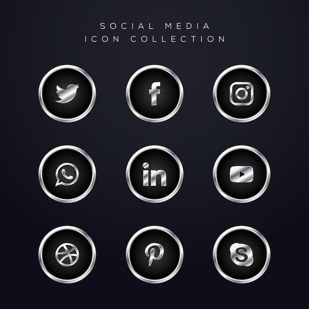 Luksusowy Srebrny Pakiet Ikon Mediów Społecznościowych Premium Wektorów