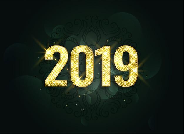 Luksusowy styl 2019 nowy rok błyszczy tło Darmowych Wektorów