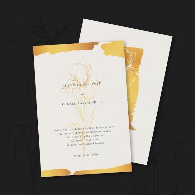 Luksusowy Szablon Zaproszenia ślubne Darmowych Wektorów