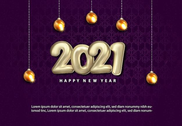 Luksusowy Szczęśliwego Nowego Roku 2021 Z Realistyczną Złotą Bombką Darmowych Wektorów
