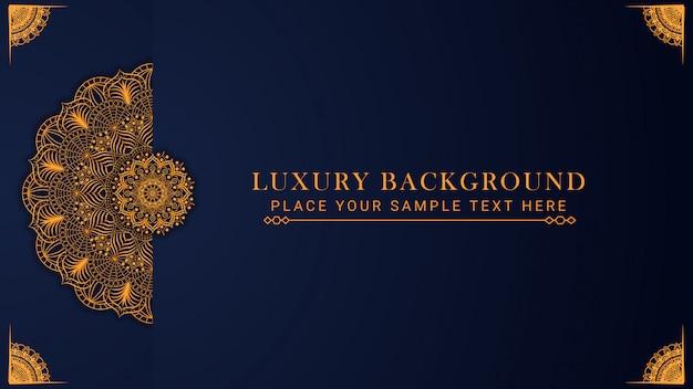 Luksusowy Wzór Tła Mandali W Stylu Wschodnim Złoty Wzór Premium Wektorów