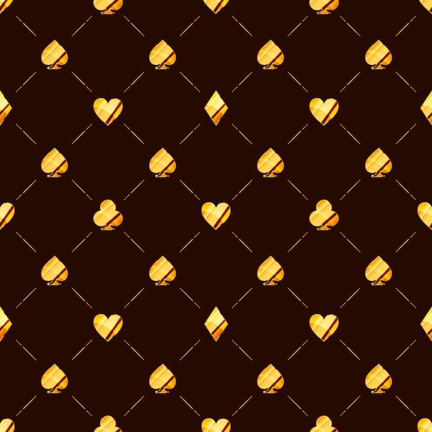 Luksusowy Wzór Z Jasną Błyszczącą Złotą Kartą Pasuje Do Ikon Takich Jak Serca, Diament, Pik Na Brązowo Premium Wektorów