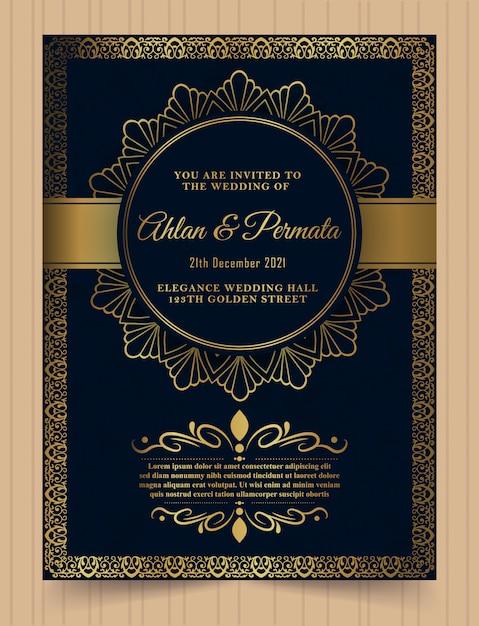 Luksusowy wzór złoty szablon karty zaproszenie. Premium Wektorów