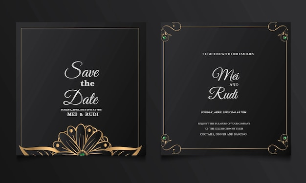 Luksusowy Zestaw Kart Zaproszenie Na ślub Z Datą Darmowych Wektorów
