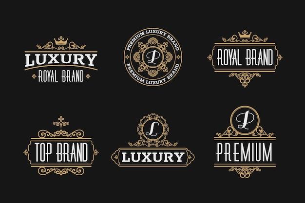 Luksusowy Zestaw Retro Logo Darmowych Wektorów