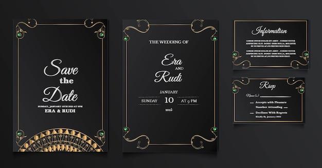 Luksusowy Zestaw Szablonów Zaproszenia ślubne Darmowych Wektorów