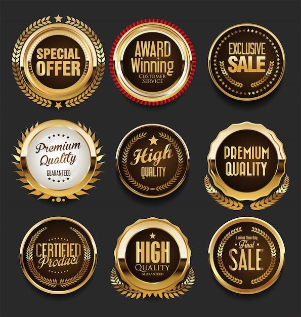 Luksusowy zestaw złotych odznak premium Premium Wektorów