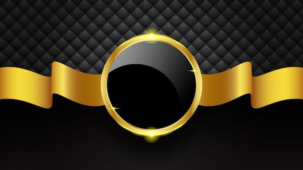Luksusowy złoty okrąg ramki i wstążki na czarnym tle Premium Wektorów