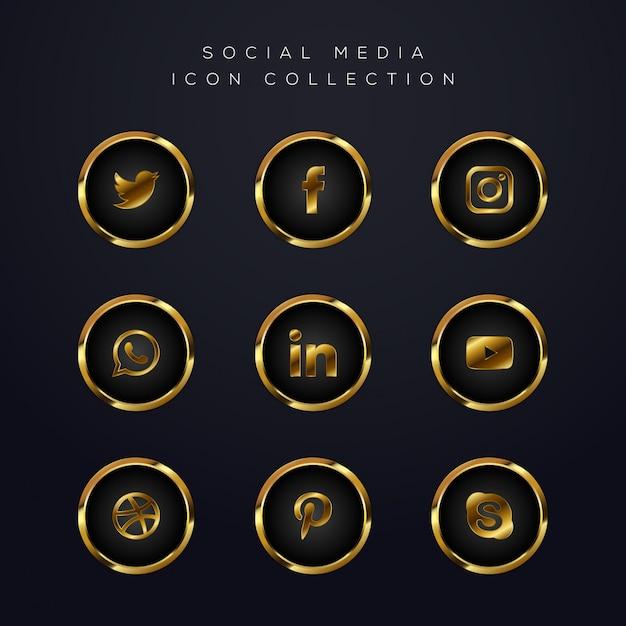 Luksusowy Złoty Pakiet Ikon Mediów Społecznościowych Premium Wektorów