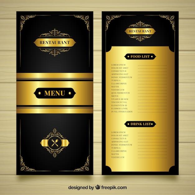 Luksusowy Złoty Szablon Menu Darmowych Wektorów