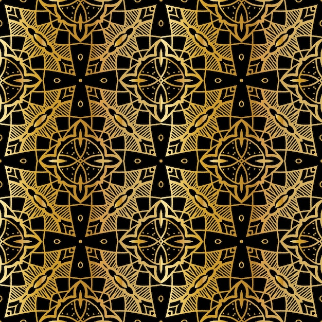 Luksusowy złoty wzór batikowy, batik indonezyjski to technika barwienia odpornego na wosk stosowana na całej tkaninie Premium Wektorów