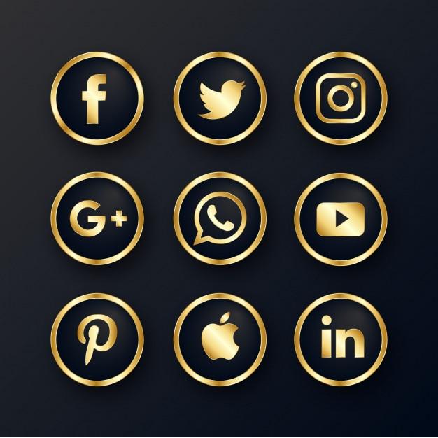 Luksusowy złoty zestaw ikon mediów społecznościowych Darmowych Wektorów