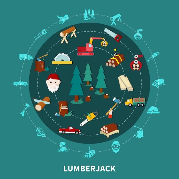 Lumberjack round composition Darmowych Wektorów