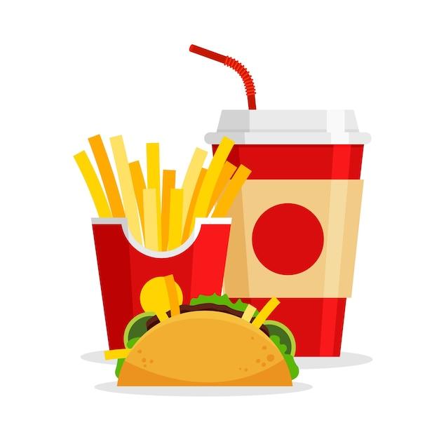Lunch Z Frytkami Tacos I Napojami Gazowanymi W Modnym, Płaskim Stylu Fastfood Menu Restauracji Fastfood Na Wynos Premium Wektorów