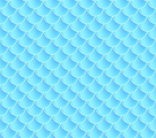 Łuski Syrenki. Fish Squama. Niebieski Wzór Premium Wektorów