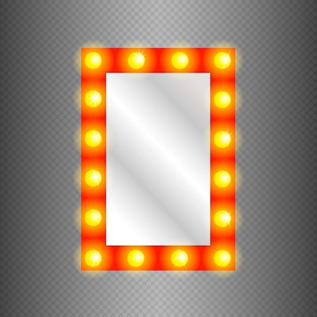 Lustro Do Makijażu Na Białym Tle Ze Złotymi światłami. Premium Wektorów