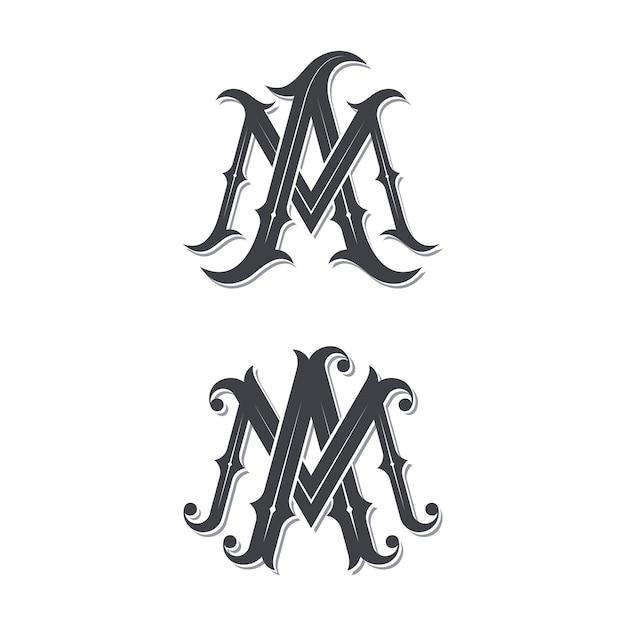Ma vintage monogram logo. Premium Wektorów