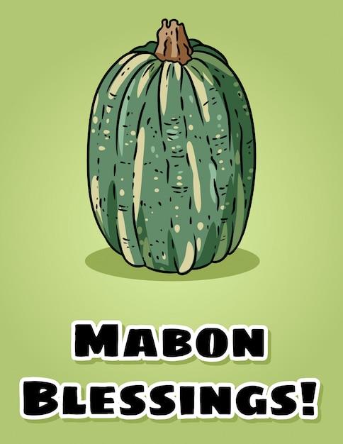 Mabon blessings przypada pogańskiej pocztówce z dyni Premium Wektorów