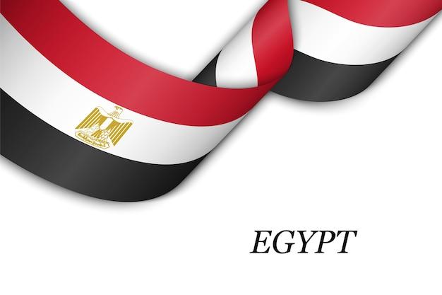 Macha Wstążką Lub Transparentem Z Flagą Egiptu. Premium Wektorów