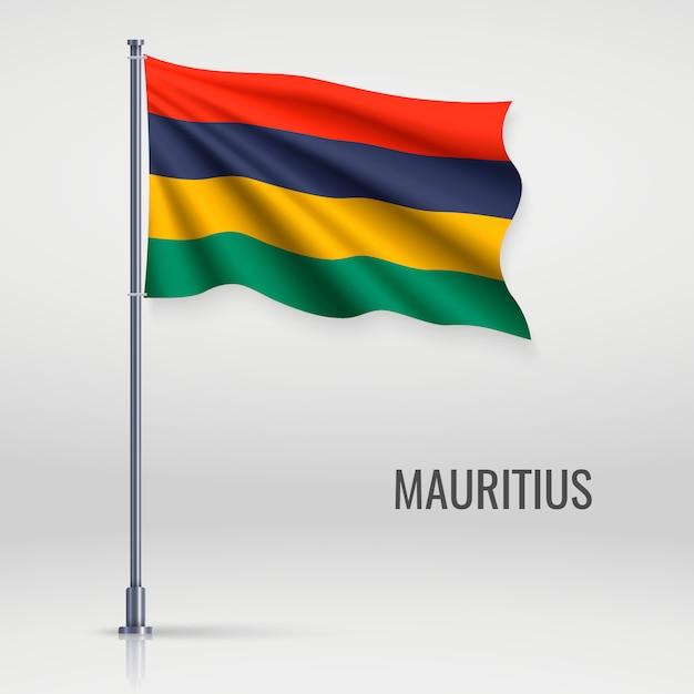 Machać Flagą Na Masztem Premium Wektorów