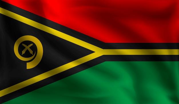 Machając Flagą Vanuatu, Flaga Vanuatu Premium Wektorów