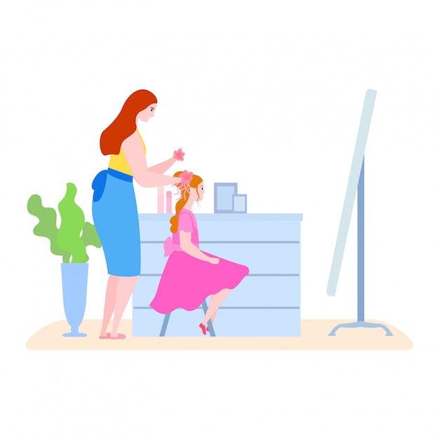 Macierzysty Czas Z Córki Ilustracją, Kreskówki Mama Robi Fryzurze żartować Dziewczyna Charakteru W Ranek Rutynie Na Bielu Premium Wektorów