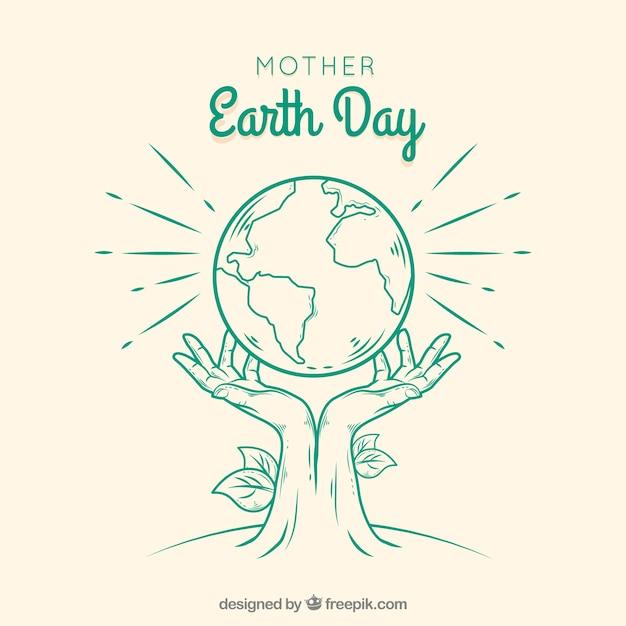 Macierzysty Dzień Ziemi Ręka Rysujący Tło Darmowych Wektorów